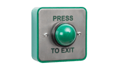 RGL Large Green Stainless Steel Push to Exit Mushroom Button