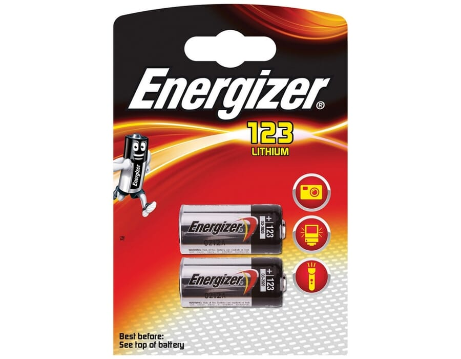Energizer CR123 Lithium 3v Battery Twin Pack