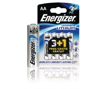 Energizer Ultimate Lithium AA Batteries 3+1 Pack