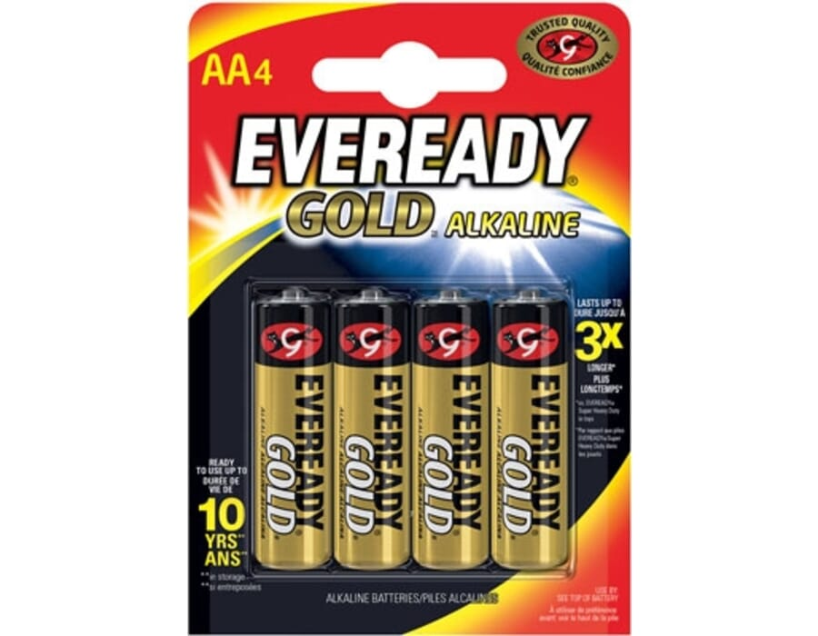 Eveready Alkaline Gold AA Batteries 4 Pack