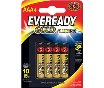 Eveready Alkaline Gold AAA Batteries 4 Pack