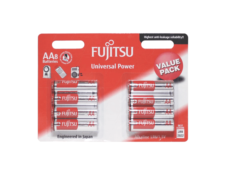Fujitsu AA Alkaline Batteries 8 Pack
