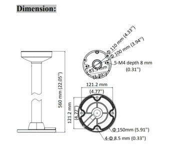 Hikvision DS-1271ZJ-110 Ceiling Pendant Bracket for Domes