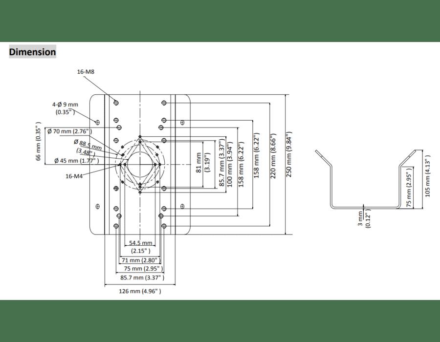 Hikvision DS-1276ZJ-SUS Stainless Steel Corner Bracket