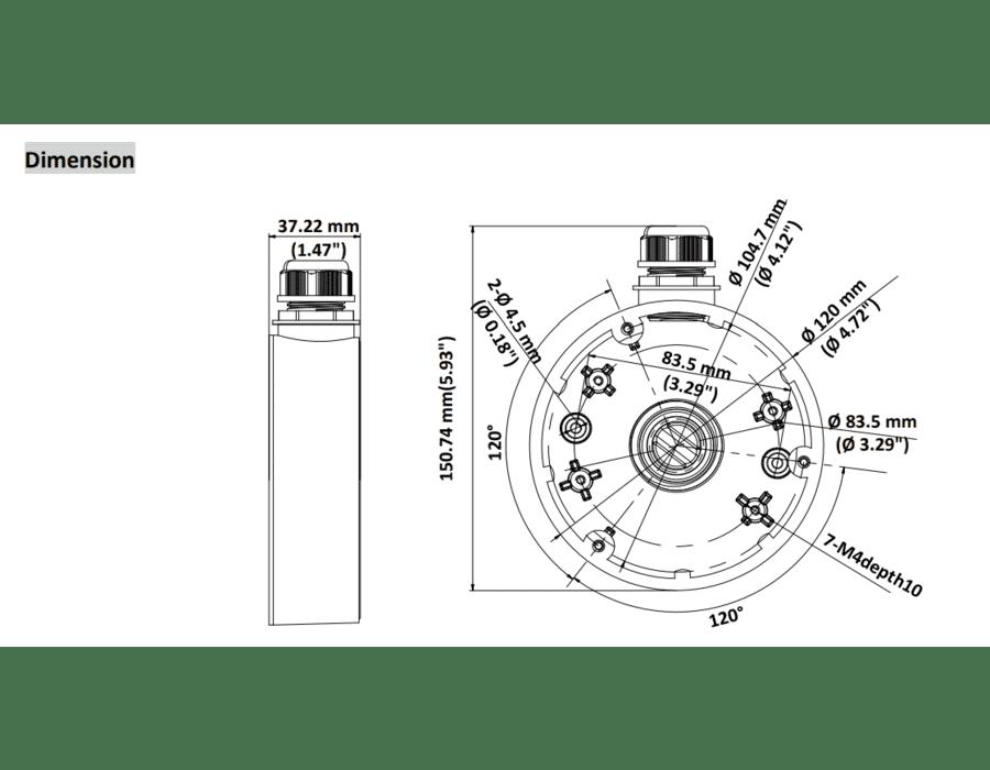 Hikvision DS-1280ZJ-DM46 Junction Box Deep Base