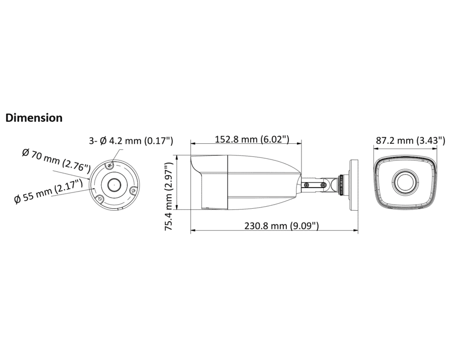 Hilook THC-B220-MC 2MP TVI Bullet 2.8mm