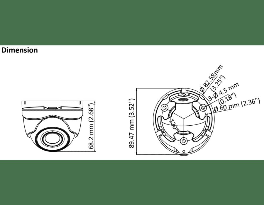 Hikvision DS-2CE56D8T-ITMF 2MP TVI Mini Turret 4-in-1 2.8MM