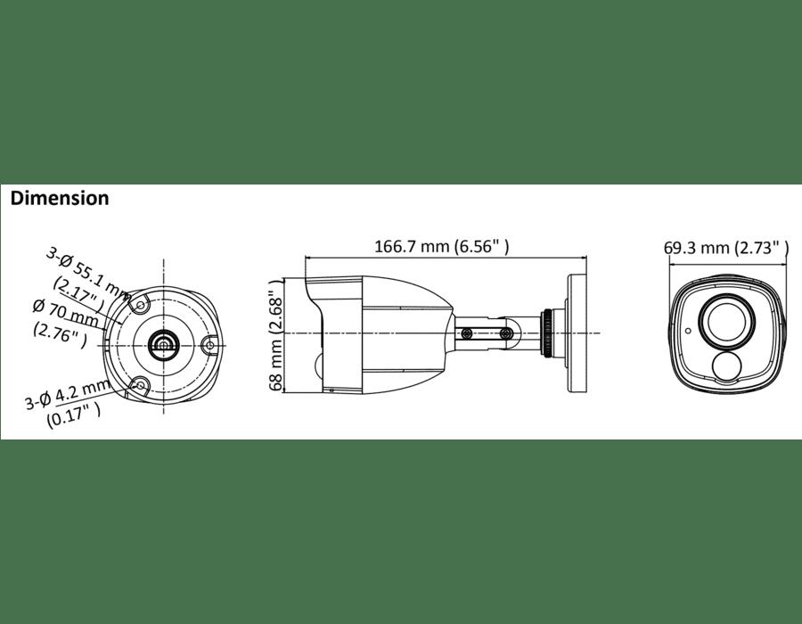 HiLook THC-B120-MPIRL 2MP TVI Bullet with PIR 2.8MM