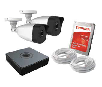 HiWatch 2 x Camera 2MP HD IP PoE CCTV Kit 500GB 4ch NVR