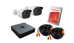 HiWatch 2 x Camera 2MP HD TVI CCTV Kit 500GB 4ch DVR