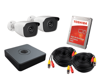 HiWatch 2 x Camera 2MP HD TVI CCTV Kit 500GB 4ch DVR