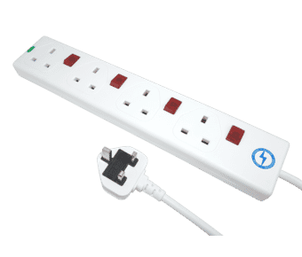 4 Gang 0.75m White Individually Switched Surge Protector