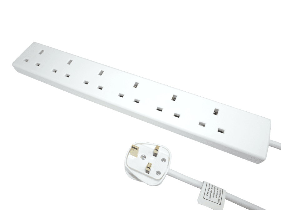6 Gang 2m White Extension Lead