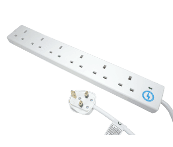 6 Gang 2m White Surge Protector