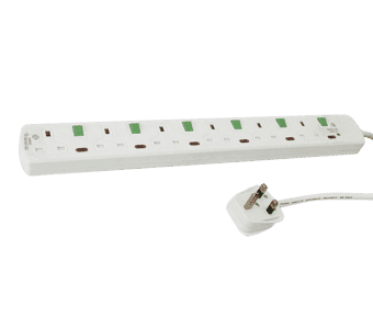 6 Gang Surge Protected Individually Switched Extension Bar