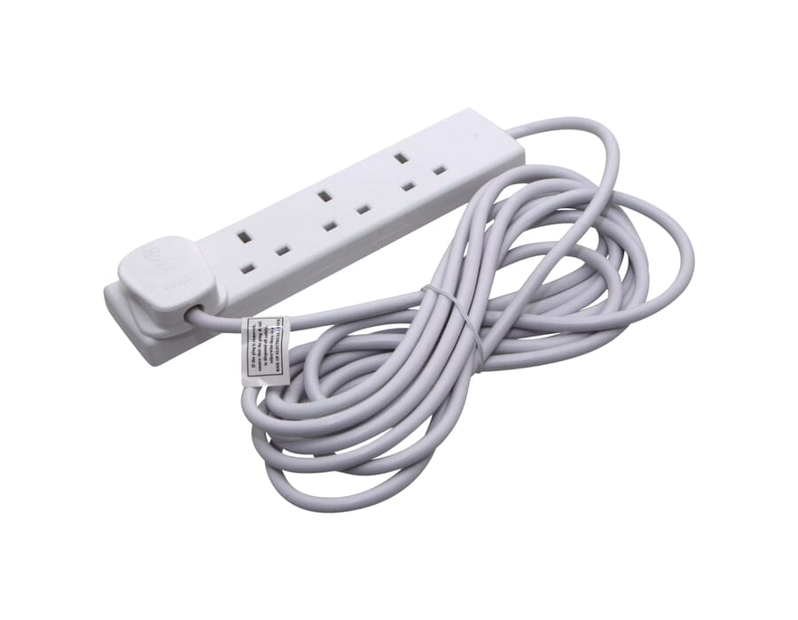 4 Gang 5m White Extension Lead