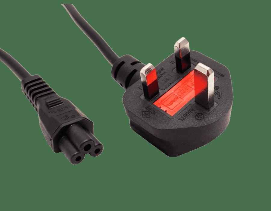 C5 Cloverleaf Power Cable UK Plug 3A Black 1.8m