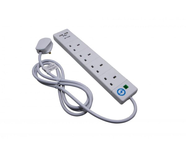 4 gang 2m white surge protector with usb. Black Bedroom Furniture Sets. Home Design Ideas
