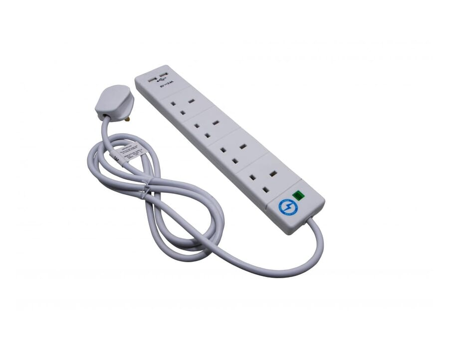 4 Gang 2m White Surge Protector with USB
