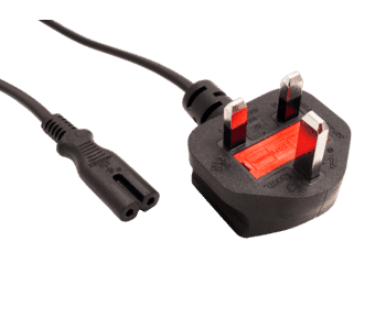 C7 Figure of Eight Power Cable UK Plug 3A Black 1.8m