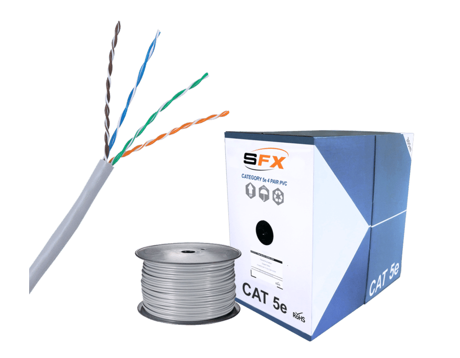 Cat 5e UTP PVC Grey Solid Network Cable