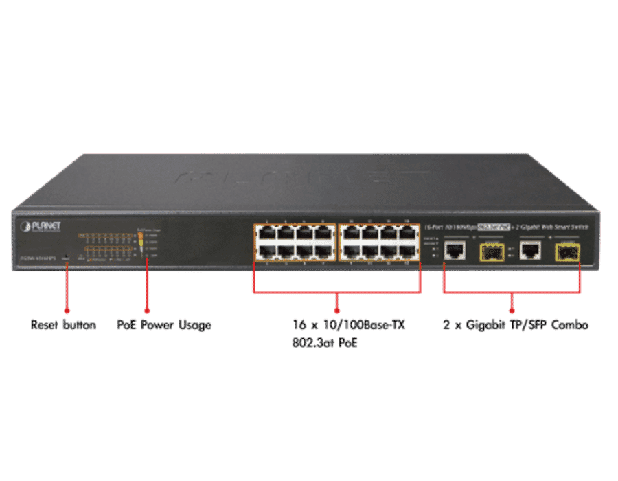 Planet FGSW-1816HPS 16 Port Gigabit Managed POE Switch