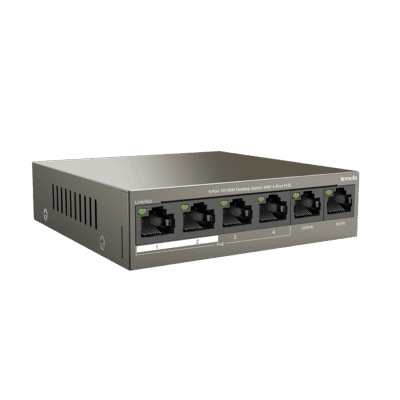 Tenda TEF1106P-4-63W 4 Port 10/100 PoE Switch with Dual Uplink