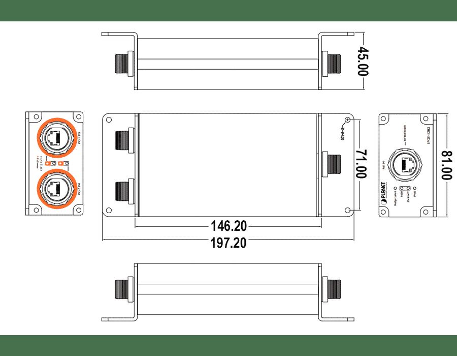 Planet IPOE-E202 Industrial PoE+ Extender / Splitter