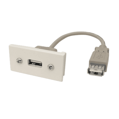 USB Single Insert Euro Module White