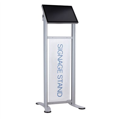 Free standing digital signage stand with POS slot