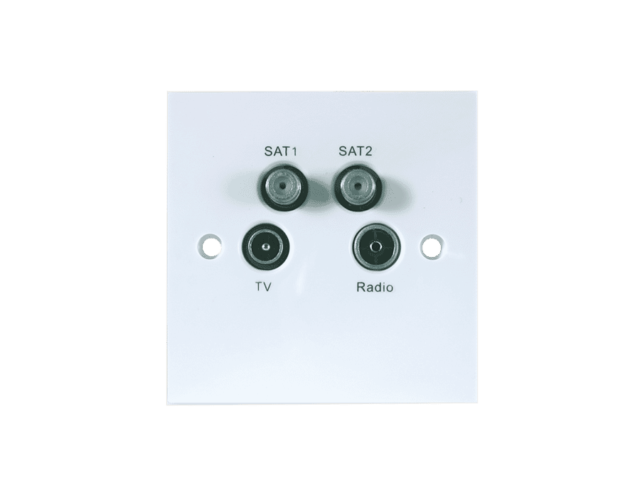 Triax Triplexed Screened Twin Satellite TV Radio Wall Plate