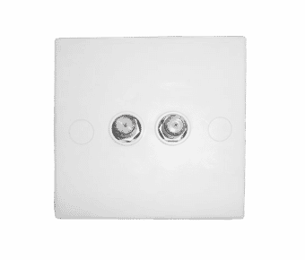 Twin TV or Satellite F Plug Wall Face Plate
