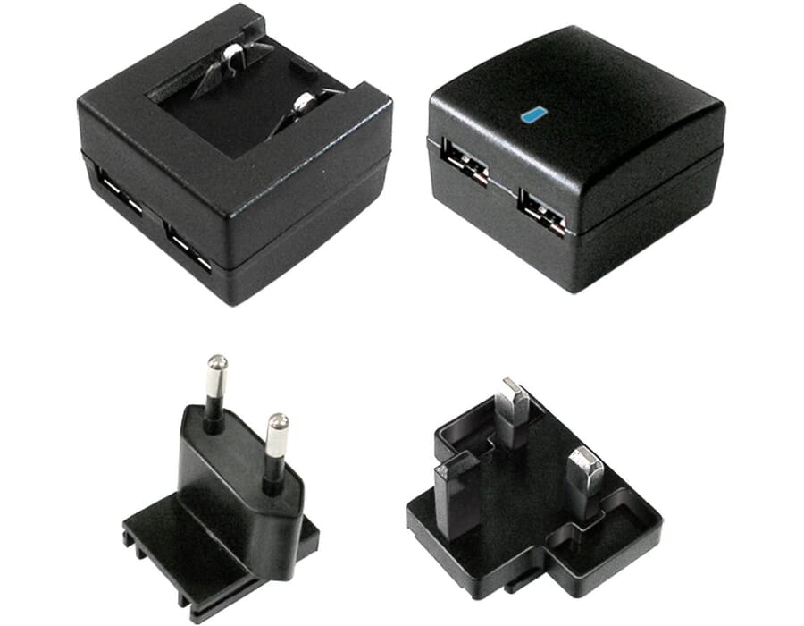 Twin Socket 2 Amp USB Travel Phone or Tablet Charger