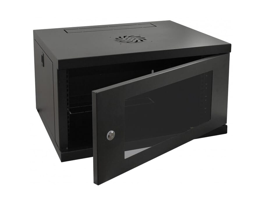 Wall Mounted Network Patching Cabinet with Glass Door Black