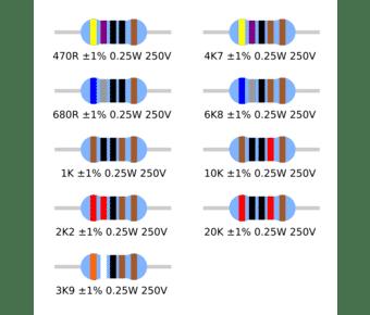 0.25W 1% Metal Film Resistor 470R to 20K (10 pack)