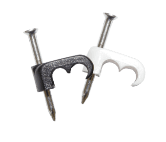 Twin 5mm Cable Clips for mini coax / Cat 5e / Alarm (100pc)
