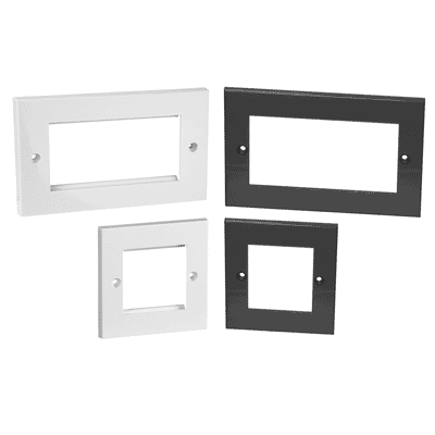 Flat Euro Single and Dual Gang Face plates White or Grey